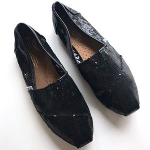 Tom's Black Sequin Classic Alpargata Slip On Flats